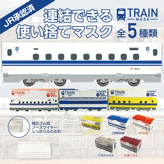 鉄道ファン必見【JR東海承認済 JR東日本商品化許諾済】日本製トレインマスク・50枚入