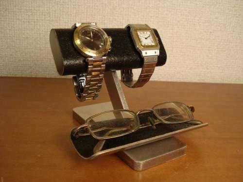 父の日に!ブラック腕時計、眼鏡スタンド