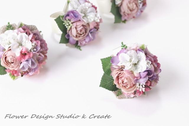 オーダー制作:ラベンダーピンクのお花のヘッドドレスとブライズメイド様のリストレット