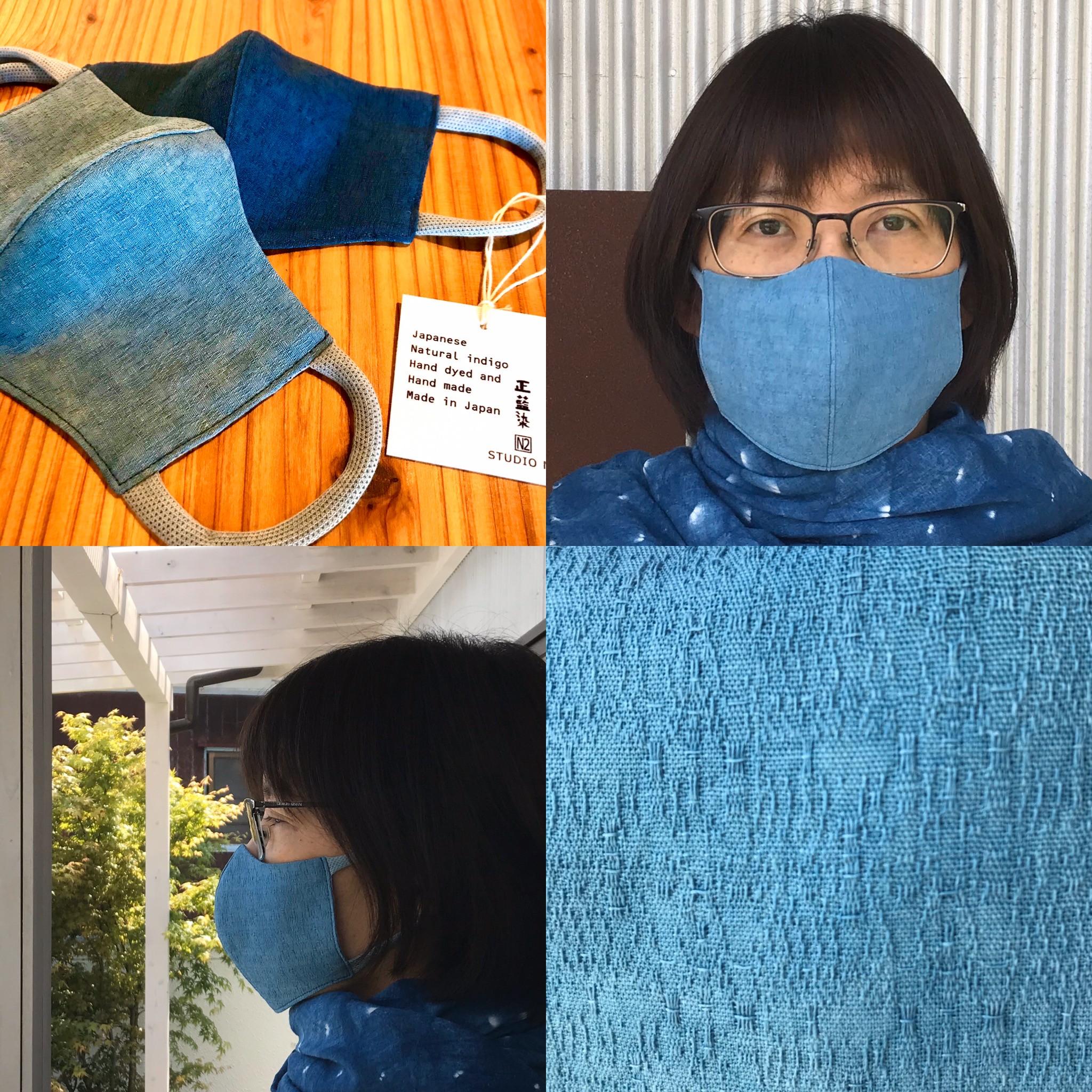 オリジナル藍染めマスクを作りました。