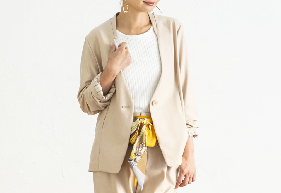 【PICK UP】【No Collar Tailored Jacket】<OFF BEIGE>