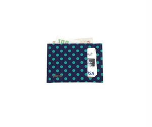 planar Card Case S -Blue and Green Dots-