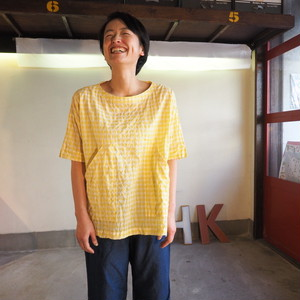 ゆらぎギンガムチェック  BIGポケットTシャツ 12S21 サイズ2