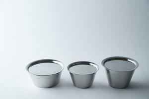 ステンレスカップ 平型、中、小、蓋セット