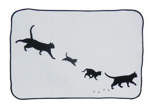 [メール便対応]給水マット マイクロファイバー ネコ シルエット 黒猫 日本製 ねこのもり