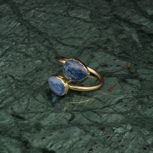 DOUBLE STONE OPEN RING GOLD 027