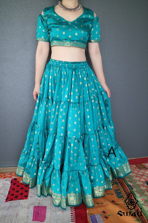 Silk Saree Skirt Set シルクサリースカートセット 25Yard 全10色