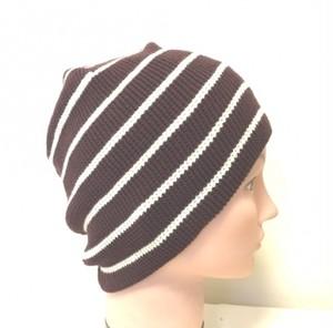綿のボーダー編み帽子(C004)