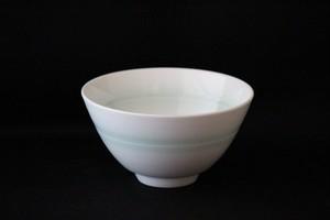【井上康徳作】白磁緑釉線鉢