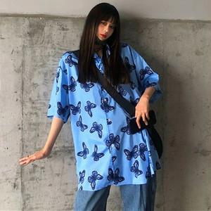 【トップス】半袖蝶図柄ファッションストリート系シャツ28869804