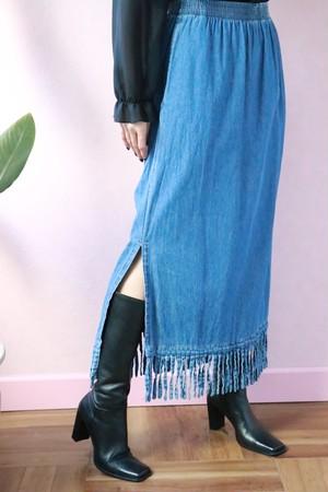 Denim fringe easy skirt
