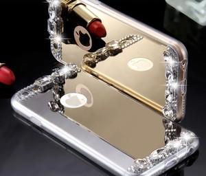 iPhone7 ケース,ビジュー☆ミラー付き! 2色セット(ゴールド、シルバー)
