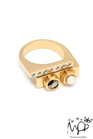 【Maria Francesca Pepe】CITY DECO RING/GOLD×CRYSTAL METALLIC LIGHTGOLD×CRYSTAL【7113110000-GBRMARFRA2LON】