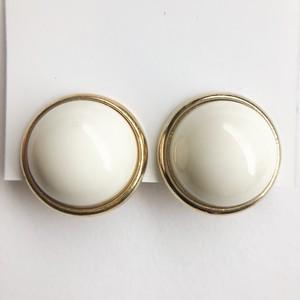cream dome earring[e-1118]