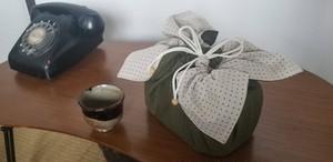 Lサイズ お弁当袋になっちゃう!!ランチクロス☆刺し子風十文字緑(50cm×50cm)