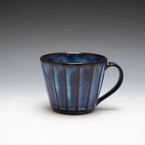 面取カフェオレカップ(青萩釉)