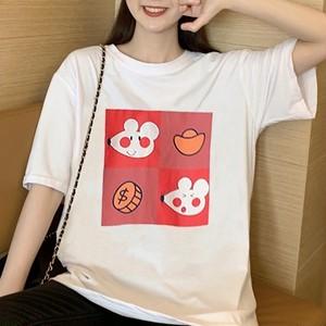 【トップス】韓国系可愛い清新独特簡約プリント細見せ半袖Tシャツ