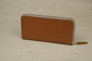 ラウンドファスナー キャメル色 牛革 ベージュファスナー leather wallet
