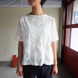 水玉プリン-T  水玉ボートネックTシャツ五分袖  01C08 サイズ2