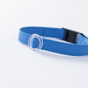 【猫にやさしい布首輪】シーブルー 軽量3g やわらか 安全 シンプル ペットシッター考案