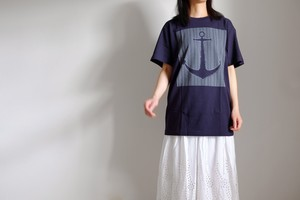 Tシャツ マリン アンカー イカリ コットン 5.6oz ・ ⚓︎⚓︎⚓︎【 ネイビー ・ ホワイトインク 】/ Tshirt anchor marine cotton 5.6oz ・ ⚓︎⚓︎⚓︎【 navy blue - white ink 】
