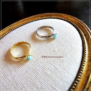 天然石の指輪◆ラリマー 小粒カボション 4mm◆ミルククラウン フリーサイズ