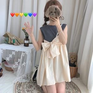 【ワンピース】日系新作ファッションリボン付き切り替えショートワンピース