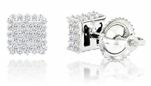 10K WHITE GOLD DIAMOND STUD EARRINGS 0.33CT