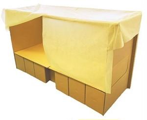 段ボールベッド「ひらいてポン」M-2200 カーテンカバー付き
