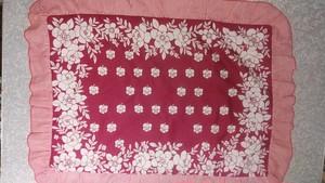 レトロ花 枕カバー クッションカバー 赤×白