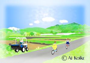 『風を切って自転車』 ~グラフィックアートTiki&Puffyシリーズ~ 【清春旅と空想の美術館】