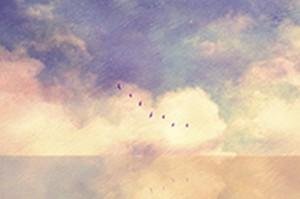 黄色い雲と湖の、画像データ