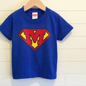 Superman?/ブルー - イニシャルオーダーTシャツ