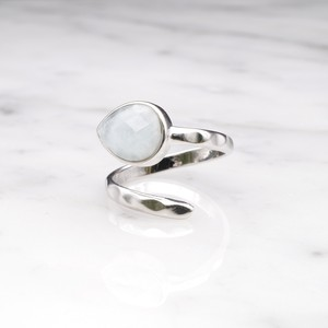 SINGLE STONE OPEN RING SILVER 017
