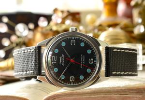 極上品◇HMT PILOT 手巻き 腕時計 ブラック×水色