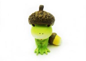 カエルオブジェ ぽっちゃり蛙 どんぐり帽子 mjpdb-sei-1806