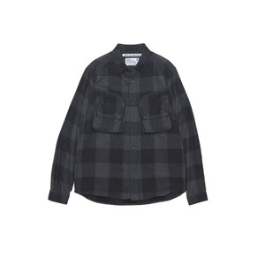 HERRINGBONE BIG CHECK FLANNEL SHIRT WITH ZIPPED BIG CHEST POCKETS - CHARCOAL