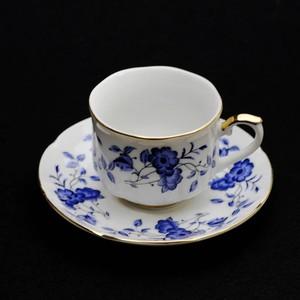 昭和レトロ Hayashi china 青 花プリント 陶器 カップ&ソーサー (189)