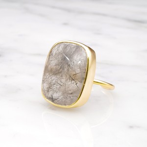 SINGLE BIG STONE RING GOLD 078