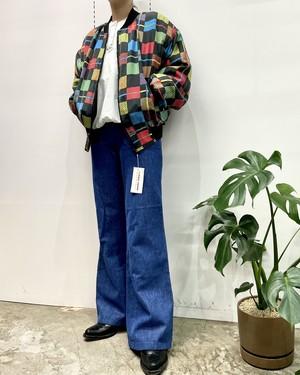1980s CAROL HORN silk multicolored blouson 【M】