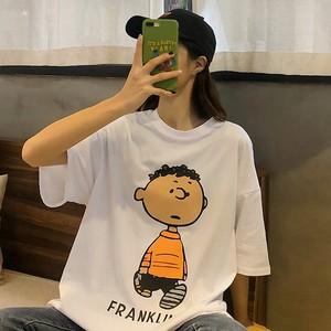 【トップス】insカトゥーンコットンラウンドネックTシャツ