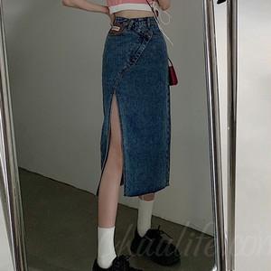 【ボトムス】韓国系膝下丈ハイウエストAラインスリットデニムスカート45576218