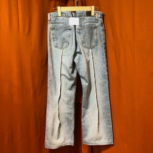 Back Rubber Line Denim Pants    Color : type D
