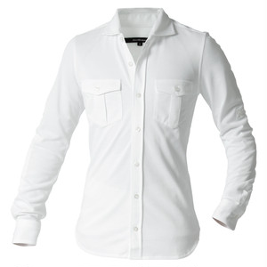 DJS-001 decollouomo メンズパイロットシャツ長袖 PURE WHITE - ピュアホワイト