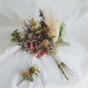 New*【Rental7泊8日】dry shabby bouquet & boutonniere