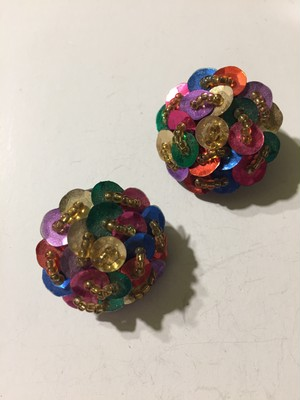 Vintage multi color spangle × beads earrings ( ヴィンテージ  マルチカラー スパンコール × ビーズ イヤリング )