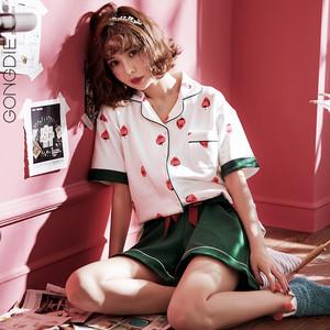 【セットアップ】2点セット夏短袖コットンルーズトップス+ショートパンツパジャマ