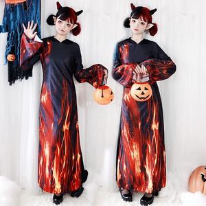 3563ハロウィン衣装 文化祭 部活 各種イベント 仮装 コスチューム コスプレ衣装 レディース 大人 女性 ワンピース 地獄 悪魔 幽霊