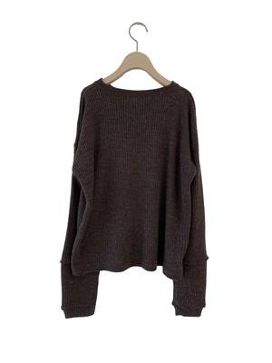 UNIONINI long sleeved rib knit pullover (dark brown) S/M