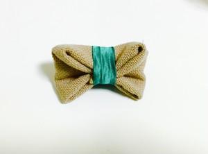 Gabriel ribbon clip (beige×green)